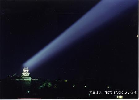 ライトアップされている時の、高知城