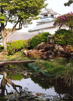 高知城と池